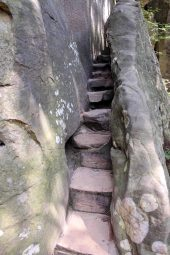 Narrow steps lead to the top